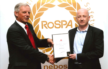 John Johnston receiving the RoSPA Guardian Angel Award in 2014